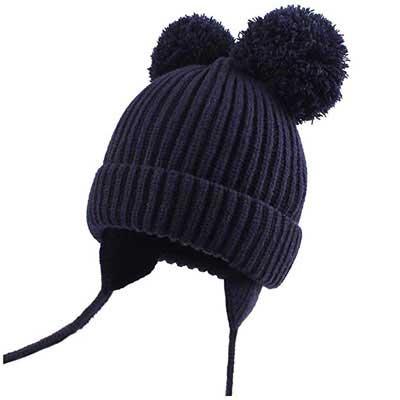 #2. Duonyeree Soft Warm Knit Beanie Toddler Girl Pom-Pom Fall Winter Hat