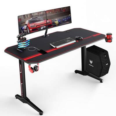 #4. VIT 55inch Ergonomic T-shaped with USB Gaming Handle Rack Gamer Table Pro Desk (Black)