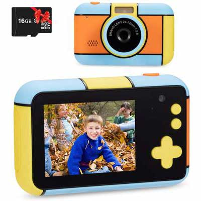 3. OMZER 16GB SD Card 2.4'' Large Screen Compact 1080P HD Kids Camera for Girls & Boys