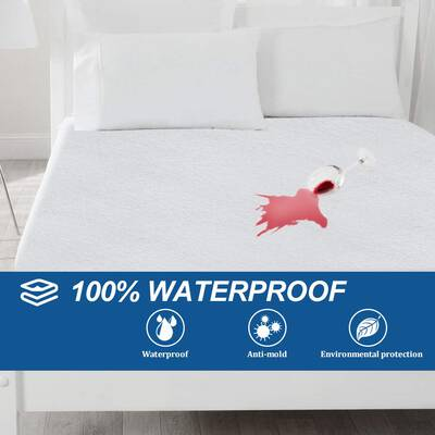 #9. Bonzy Home Cotton Terry Surface 18inch Deep Pocket Hypoallergenic Waterproof Mattress Protector