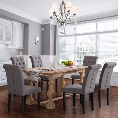 #3. Homy Grigio Aristocratic-Styled Noble Chairs & Elegant Solid Wood Tufted Dining Table Set