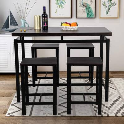 #6. Rockjame 5-Pcs Counter Height Pub4 Chairs Indoor Kitchen Dining Table Set (Espresso)