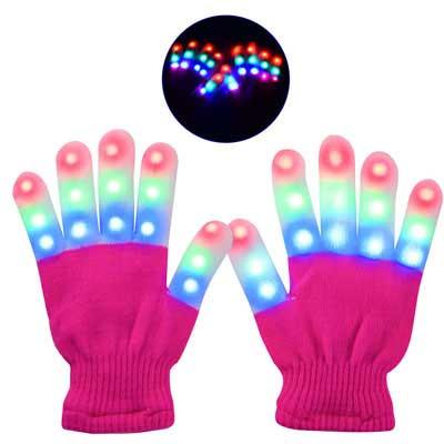 #10. Yostyle Small 3 Colors 6 modes Children LED Finger Light up Gloves (Pink)