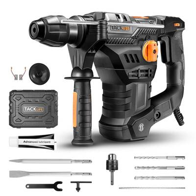 #7. TACKLIFE 1-1/4inch SDS-Plus 12.5 Amp 4350 BPM 4 Functions Safety Clutch Rotary Hammer Drill