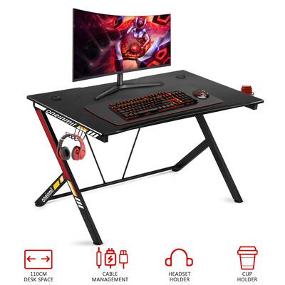#6. Oneinmil 43.5inch R-Shaped PC Gaming Desk with Cup Holder & Headphone Hook Gamer