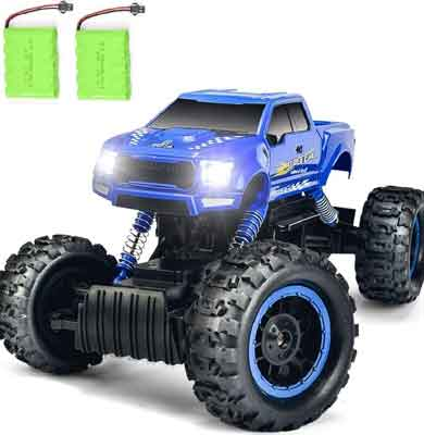 #8. DOUBLE E 1:12 Scale 2.4 GHz 4WD High Speed All Terrain 2 Batteries Off-Road RC Truck for Kids