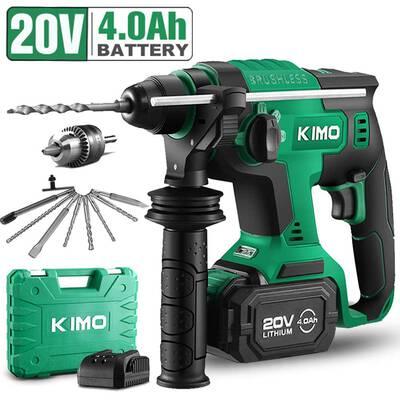 #2. KIMO 20V 1'' SDS-Plus 3 Function Variable Speed Adjustable Handle Demolition Hammer Kit