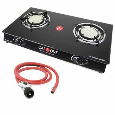 #10. GasOne 4078 Ceramic Head Auto-Ignition 2 Burner Glass with Propane Regulator Cooktop