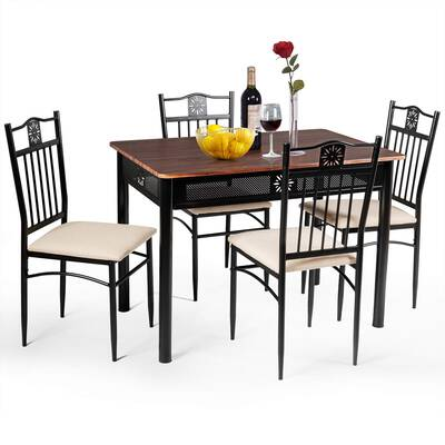 #7. Tangkula 5-Pcs Vintage Retro Wood Top Padded Seat Dining Table Set Home Kitchen (Brown)