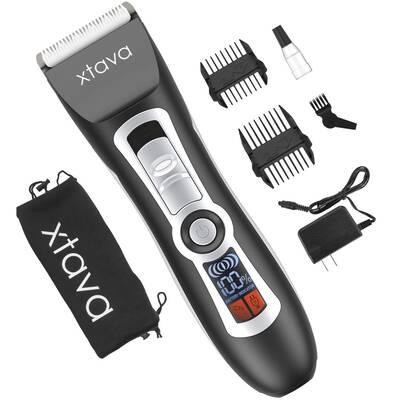 #4. Xtava Pro Cordless LCD Display Ceramic & Titanium Blades Hair Clipper & Beard Trimmer