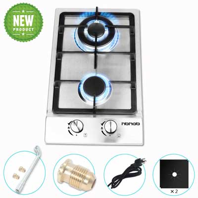 #9. HBHOB 12'' Top RV Stove2 Double Burner Gas Kitchen Stainless Steel High Gas Cooktop