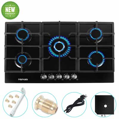#4. HBHOB Cast Iron Grate 5 Sealed Burners Dual Fuel Tempered Glass Built-in Gas Cooktop