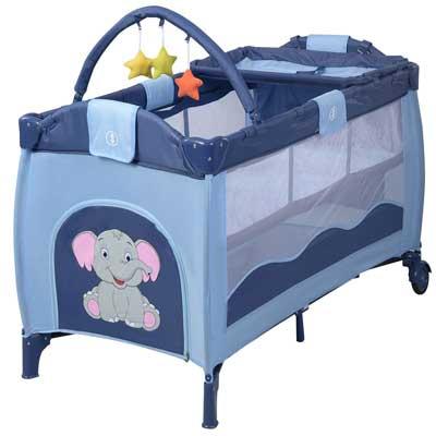 #8. HONEY JOY Foldable Changing Table Toys Wheels & Brakes Portable Baby Playard