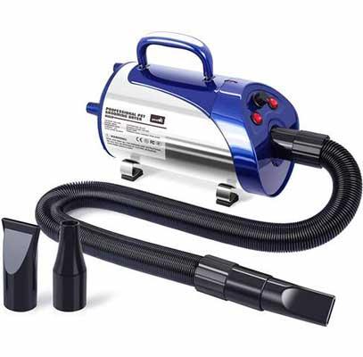 #5. Pecute 2800W 3.2 HP Stepless Adjustable Temperature & Speed Grooming Dryer Blower w/Heater