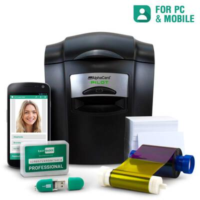 #9. AlphaCard ID card Printer Complete with 100 Printable Cards