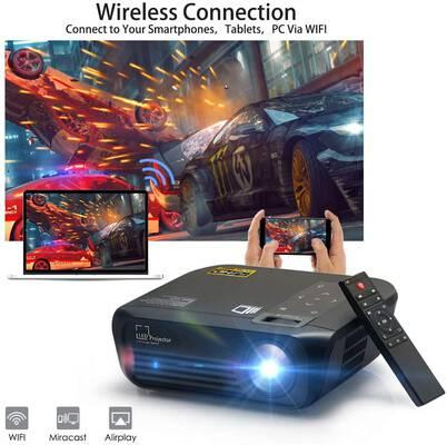 #5. Crossmind Wi-Fi 5500 Lumens Smart Native 1080P 200Inch Display Full HD Mini Projector (Black Knight)