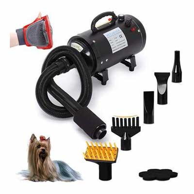 #2. Free Paws 4.0 HP 2-Speed 5 Different Nozzles & Shower Massage Glove Dog Hair Dryer