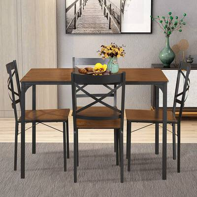 #9. LENTIA 5-Pcs Vintage Table Top 4-Chairs Modern Dining Table Set Home Kitchen (Espresso)