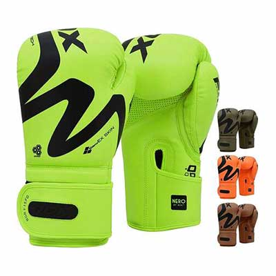 #3. RDX Double End Speed Ball Boxing Gloves for Training Muay Thai Leather Gloves (Green)