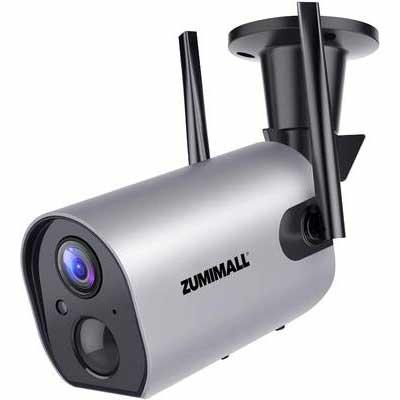 5. ZUMIMALL 2-Way Audio 1080P Night Vision Waterproof Battery Powered Wireless Outdoor Camera