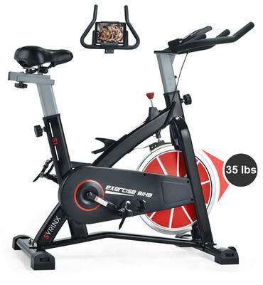 #1. SYRINX Indoor Cycling Bike Belt Drive Indoor Exercise Bike