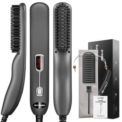 #7. SIYINMM Beard Straightening Quick Heated Comb Brush Mini Sized/Auto Shut Off/Anti Scald for traveling