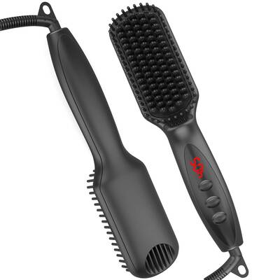 #9. AMAZAC - Beard Straightening Comb Heated Iron Hair Straightener Brush 3 In 1