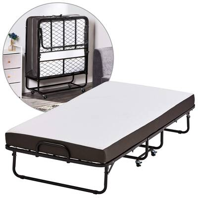 #6. Forfar Twin Size Rollaway Bed with 5inch Super-Strong Sturdy Frame Easy Storage Foldable Folding Bed
