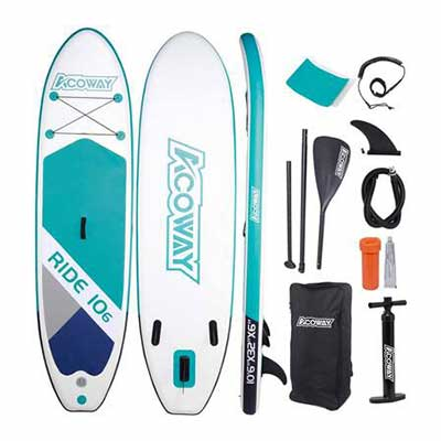 #7. ACOWAY SUP Non-Slip Deck Inflatable Stand Up Paddle Board for Youth & Adult