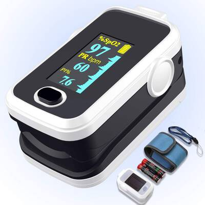 #3. Amemo Portable Fingertip Pulse Oximeter w/Perfusion Index & Plethysmograph