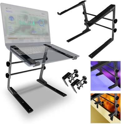 #8. AxcessAbles LTS-02 Tabletop Stand w/Table Clamps for Compact Mixer & DJ Laptop (Black)