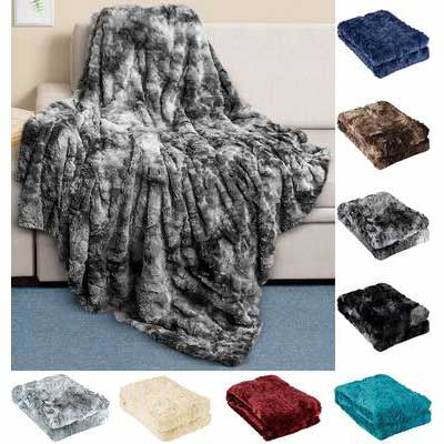 5. Everlasting Comfort Full-Size Grey Ultra-Soft & Fluffy Faux Fur Plush Throw Blanket for Couch & Bed