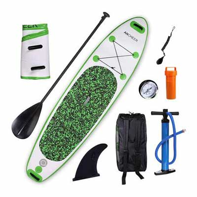 #5. ANCHEER Durable Double Layer Military Grade PVC 10Inch Inflatable Stand-Up Surfing Board