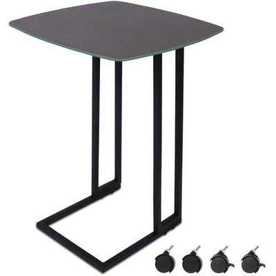 8. Moncot ET220A-GY Tempered Glass Top Weatherproof Nightstand C-Shaped Modern End Table