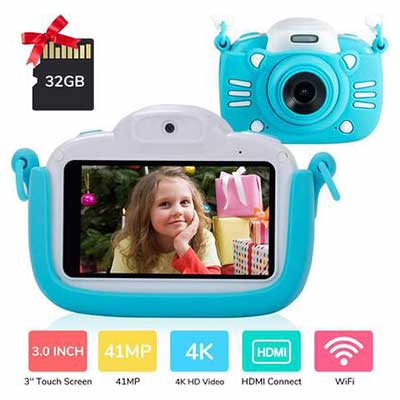 1. MINIBEAR Blue 3'' Touch Screen 41MP Children Toddler Video Camera Child Camcorder