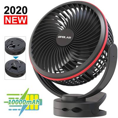 2. Forty4 10000mAh Battery-Operated Clip On Fan, 7 Inch
