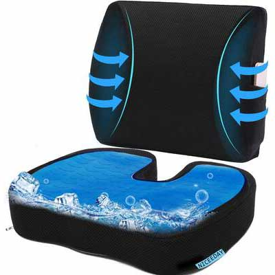 8. Niceeday Cozy Cooling Gel Seat Memory Foam Seat Cushion for Office Relieve Lower Back Pain