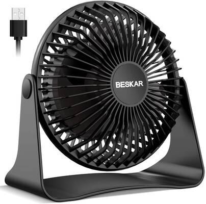 9. BESKAR Small Desk Fan, 3.9 ft. Cord