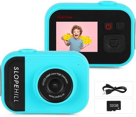 7. Slopehill Blue 1080P High-Resolution 32GB SD Card 8MP Digital Selfie Camera for Kids