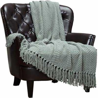 3. Chanasya Tan Sage Beige Green Plush Lightweight Super Soft Textured Knitted Throw Blanket
