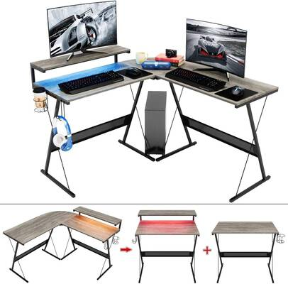 2. Bestier L-Shaped Large Elevated Ergonomic Shelf Modern Corner PC Laptop Workstation Desk