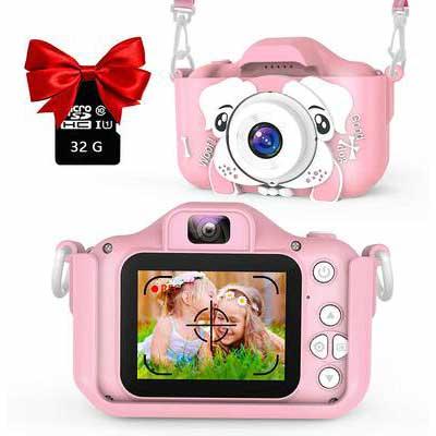 9. AOGE Dual Camera 2.0'' IPS Screen 32GB Memory Card 20.0 MP HD Kid's IPS Screen Camcorder