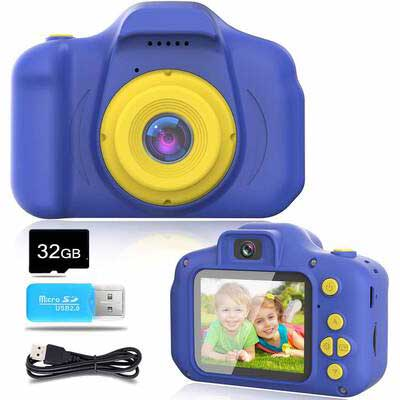 10. Blijo Upgrade 1080P Portable Blue 32GB SD Card Video Digital Camera for Kids Age 3 – 12 Yrs.