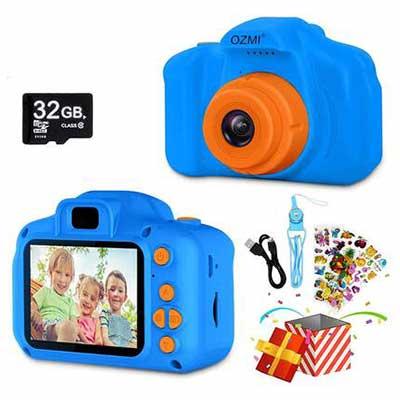 8. OZMI Orange Portable Upgrade Kids 1080P 2'' Toddler 32GB SD Card Selfie Camera for Kids
